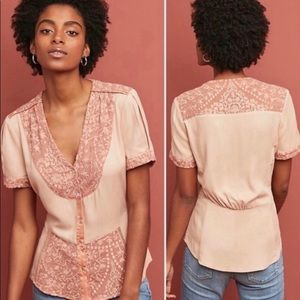 New Anthropologie Talia rose embroîdered top XS